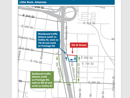6th Street East Of Interstate 30 To Temporarily Close In Little Rock