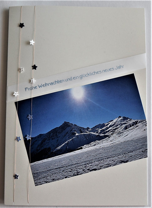 Weihnachtskarte A5 Schneelandschaft hellgrau