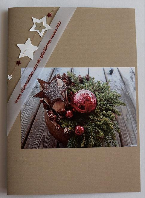 Weihnachtskarte A5 Gesteck braun