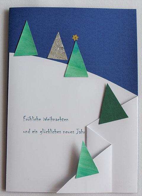 Weihnachtskarte A5 Tannenbäume