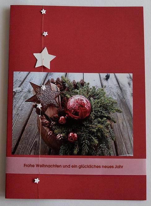 Weihnachtskarte A5 Gesteck rot