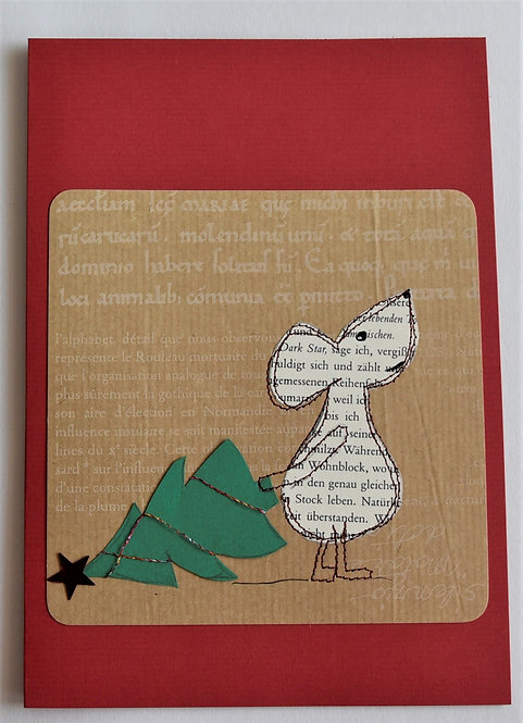 Weihnachtskarte A5 Maus mit Tannenbaum