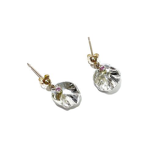K10 Petal earrings - pink sapphire drop-