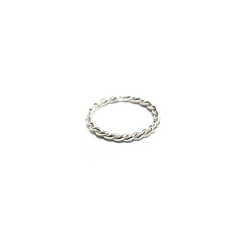 Twin rope ring - silver - R062