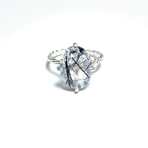Black tourmaline in quartz ring R021