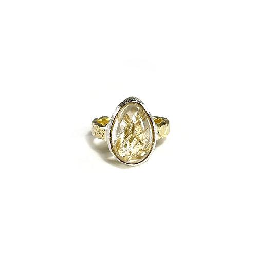 Rutilated Quartz ring R110
