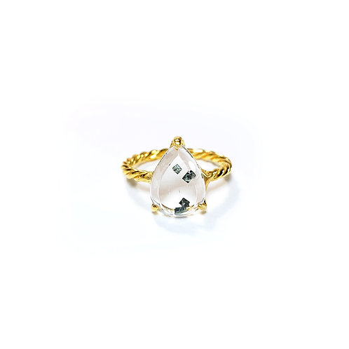 Pyrite Included Quartz Ring  R096