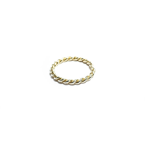 Twin rope ring - gold - R061