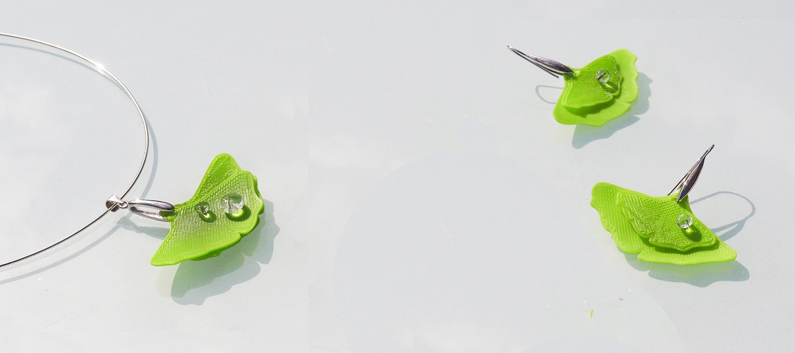 Pendentif et boucles d'oreilles en argent Ginkgo impression 3D et perles de verre