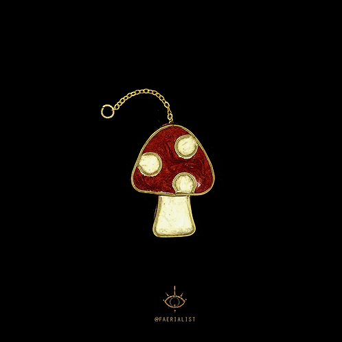 """Stained """"Glass"""" Toadstool Hanging Ornament"""