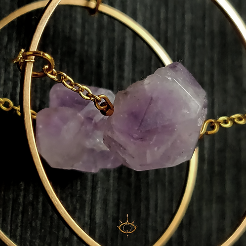 Amethyst Earrings - Gold Colour