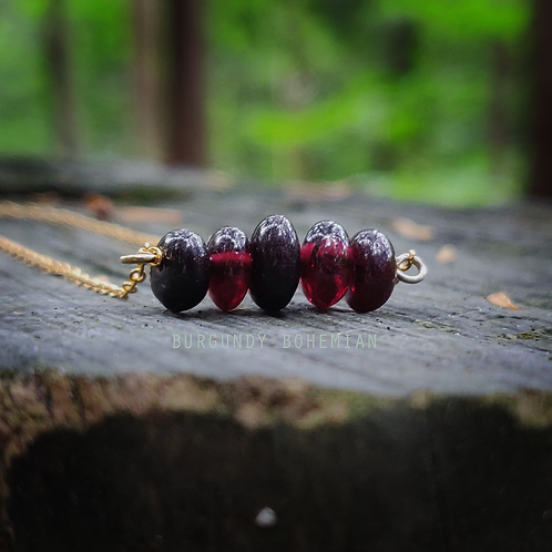 Garnet Necklace - 925 Sterling Silver Gold Plated