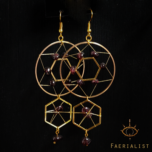 Garnet Earrings - Gold Colour