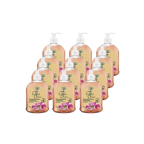Le Petit Olivier - Pure liquid Marseille soap Rose perfume - 12 x 300ml