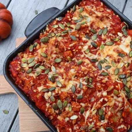 Lasagne met pompoen, spinazie en kip