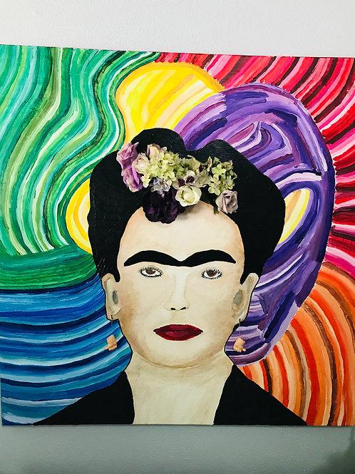 Frida mix media painting