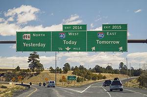Freeway sign on western US highway New Y