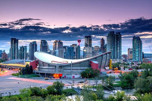 Calgary city skyline at night, Alberta,