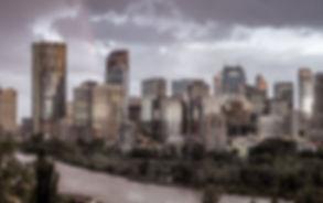 City of Calgary skyline glows during an