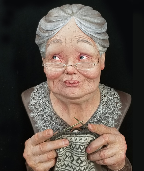 Knitting Grandma (SOLD)