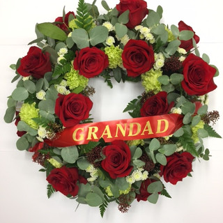 Open Wreath with name ribbon