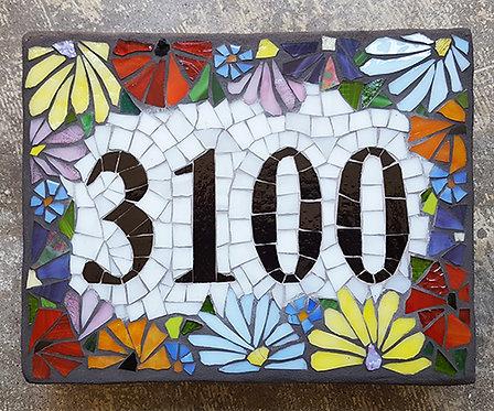 Custom Glass Mosaic Home Address Sign