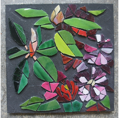 Pink Rhododendron stained glass mosaic wall art