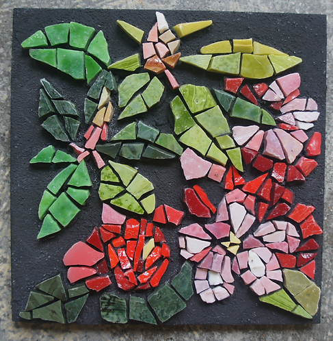 Pink Rhododendron mosaic wall art