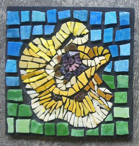 Yellow Poppy mosaic wall art