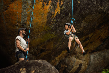 Rock climbing near camp