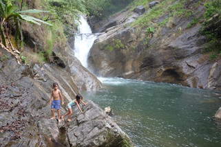 A waterfall and lagoon in the Western Ghats