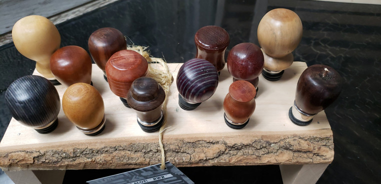 Hand Turned Wood Wine Stoppers  $25