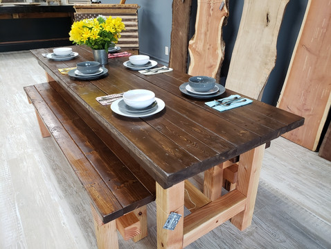 8 Foot Dining Table with Benches $1200