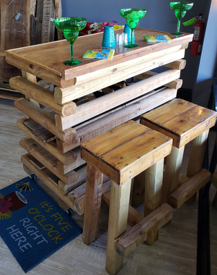Outdoor Lumber Bar and Stools  $325