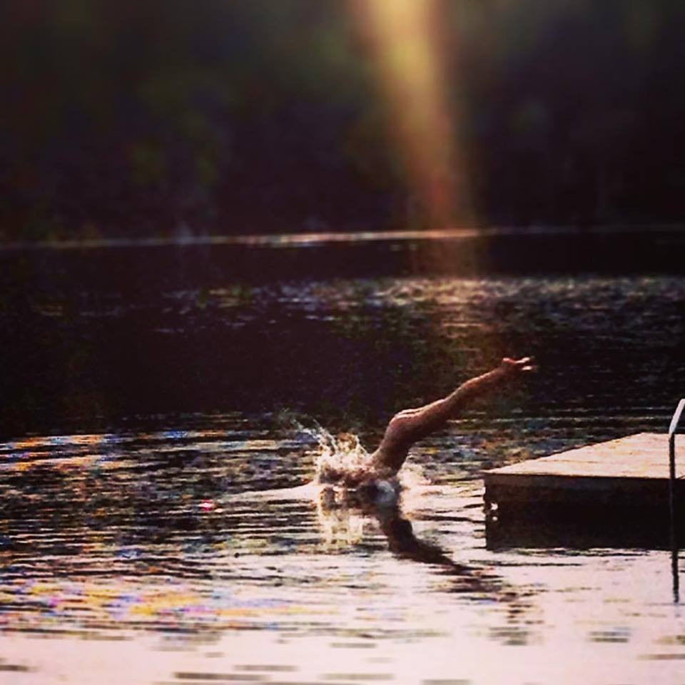 My birthday suit dive at my cottage.