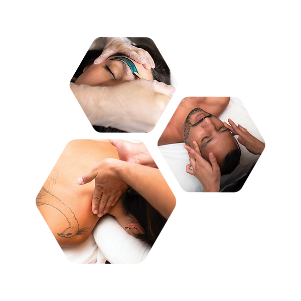 3 images in honeycomb configuration showcasing woman and man receiving massage and eyebrow waxing.