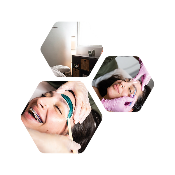3 images in honeycomb configuration featuring a bright massage room as well as eyebrow waxing.