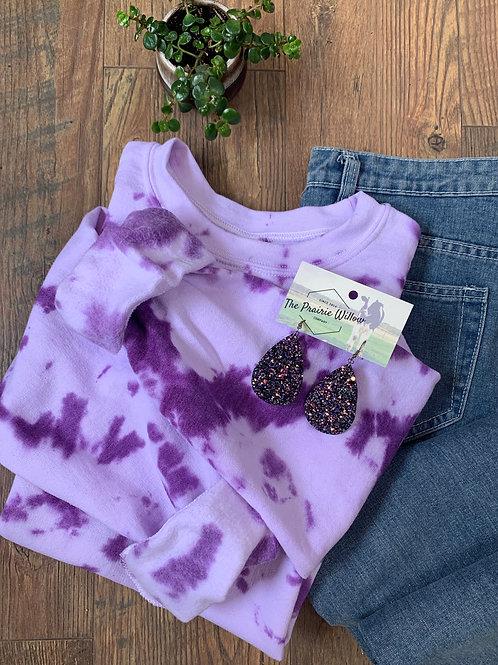 Purple tie dye crew