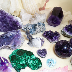 Malachite, Grape Agate, Amethyst, Fluorite
