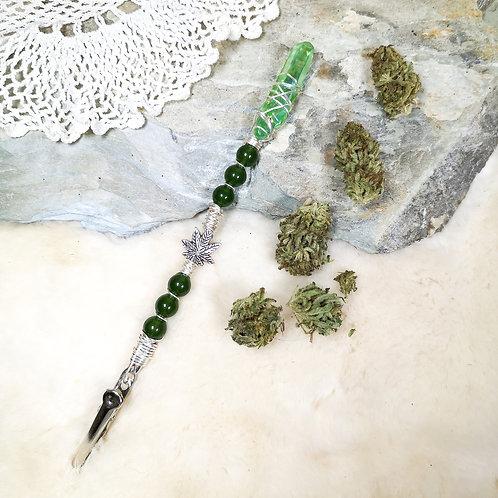 Green Jade, Green Aura Quartz Crystal Canna Wand LOVE   NEW BEGINNINGS   CALM