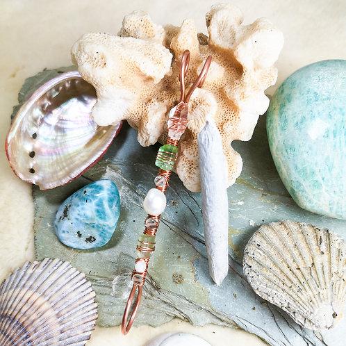 Mermaid Inspired Pearl, Tourmaline, Moonstone, Quartz and Fluorite Smoking Ring