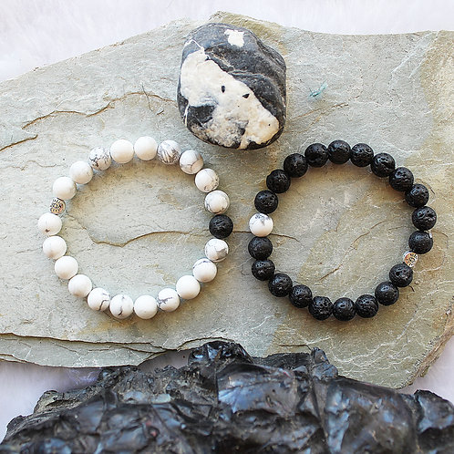 Friendship Diffuser Bracelets You're the Yang to my Yin Yin Yang Lava & Howlite