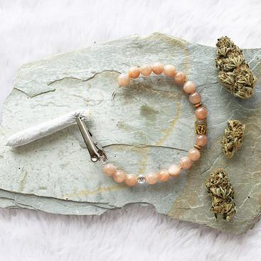 Peach Moonstone Roach Clip Bracelet