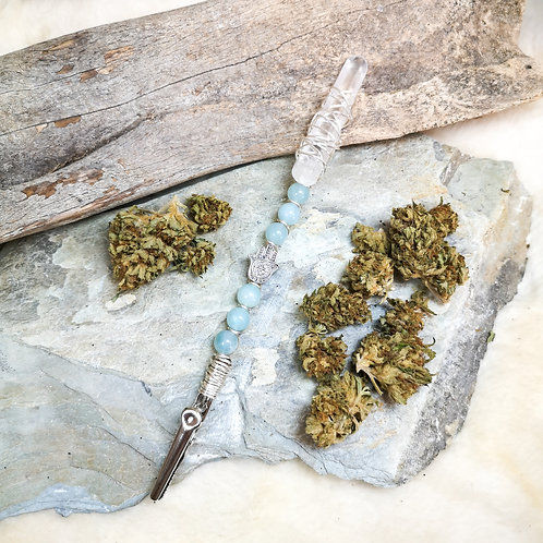 Amazonite + Quartz Crystal Canna Wand Roach Clip PEACE   SERENITY   CREATIVITY