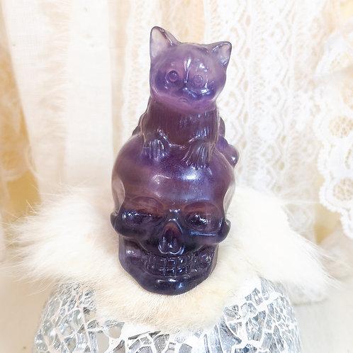 Indigo Fluorite Skull with Cat