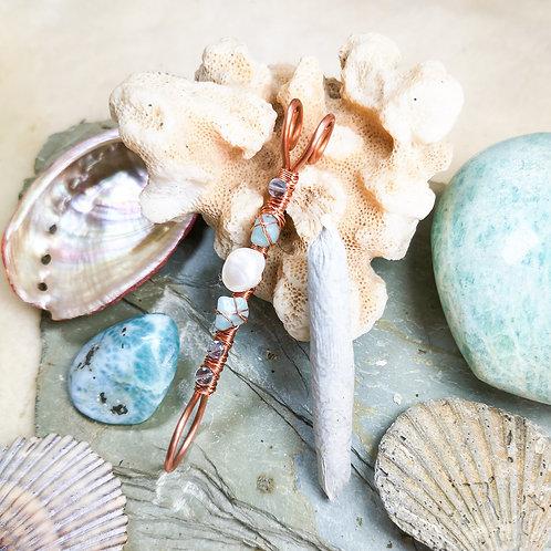 Mermaid Inspired Pearl, Fluorite and Amazonite Smoking Ring
