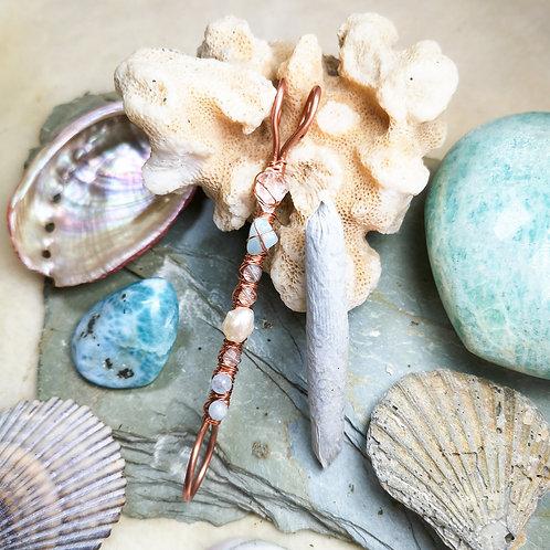 Mermaid Inspired Pearl, Amazonite, Aquamarine, Quartz and Fluorite Smoking Ring