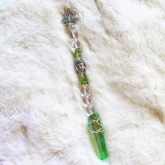 Peridot + Green Aura Quartz Crystal Dab Wand