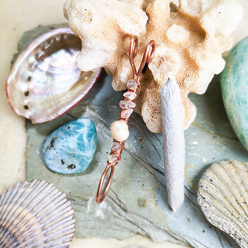 Mermaid Inspired Pearl, Aquamarine, and Fluorite Smoki