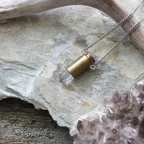 Quartz Point Crystal Bullet Necklace Healing Jewellery